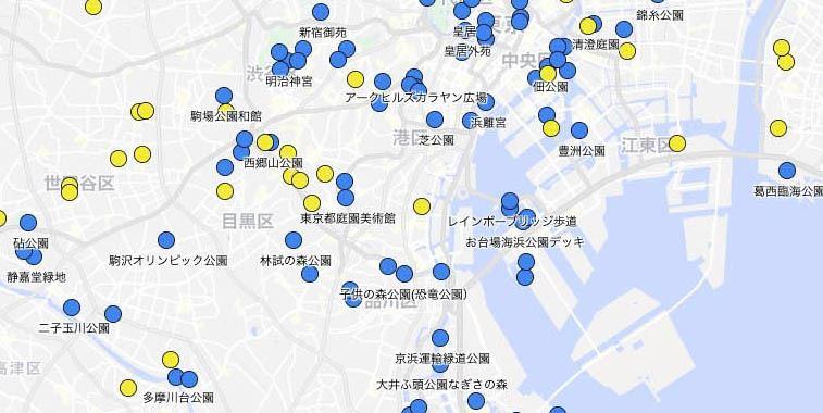 スポットの一覧をマップで見る